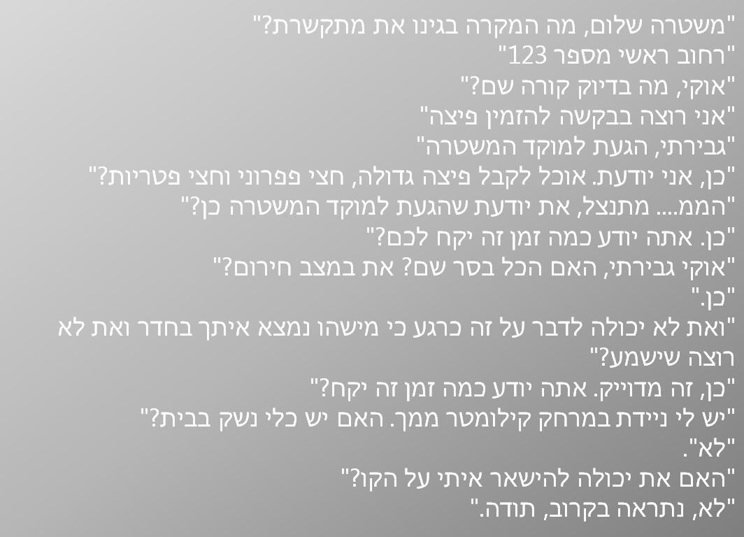 פיצה משטרה עברית