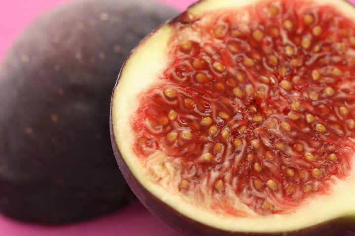 close-up of fig cut in half
