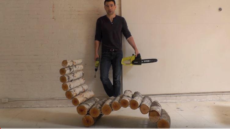 עשה זאת בעצמך - כיסא עשוי בולי עץ
