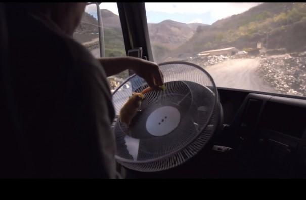 אוגר נוהג במשאית
